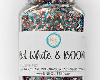 Red, White, & Boom! Bulk || Exclusive Premium Polyester Glitter, 4oz By Weight • Opaque • || Up To .062 cut