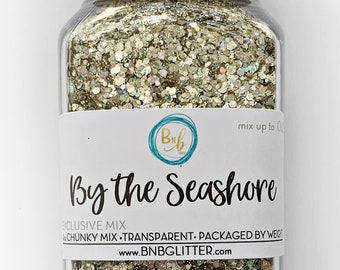 By the Seashore BULK    Exclusive Premium Polyester Glitter, 4oz by Weight • TRANSPARENT •    up to .062 cut