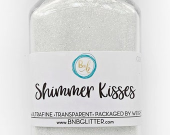 Shimmer Kisses BULK    Premium *Cosmetic* Polyester Glitter, 4oz by Weight • TRANSPARENT •    .008 cut