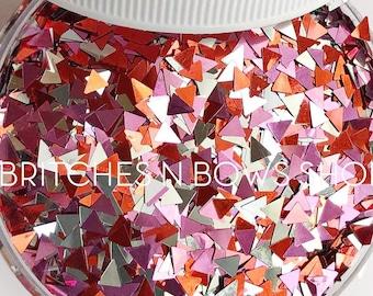 Love Triangles || Exclusive Triangle Glitter Shape Mix, 1oz Jar • OPAQUE • || 3mm