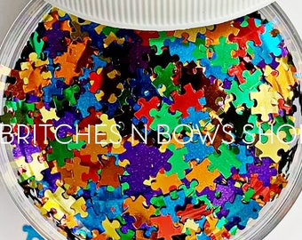 Made for Each Other    Exclusive Original BnB Puzzle Glitter Shape Mix, 1oz Jar • OPAQUE •    6mm
