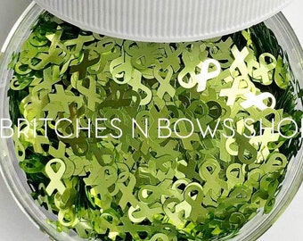 Lime Ribbons || Awareness Ribbon Glitter Shape, 1oz Jar • OPAQUE • || 6mm