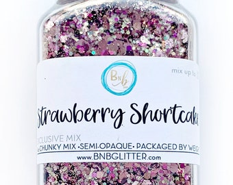 Strawberry Shortcake BULK || Premium Polyester Glitter, 4oz by Weight • Semi-OPAQUE • Exclusive || up to .125 cut