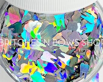 I Got a Filling || Original Tooth Glitter Shape, 1oz Jar • OPAQUE • || 8mm