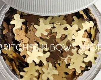 Bite Me || Exclusive Gingerbread Men Glitter Shape Sequin Mix, 1oz Jar • OPAQUE •