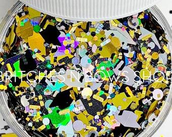 ConGRADulations || Exclusive and Original Grad Cap Glitter Shape Mix, 1oz Jar • OPAQUE • || 10mm