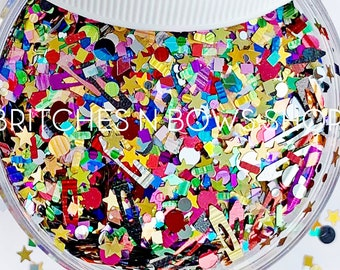Teacher Appreciation || Exclusive and Original Crayon Glitter Shape Mix, 1oz Jar • OPAQUE • || 10mm