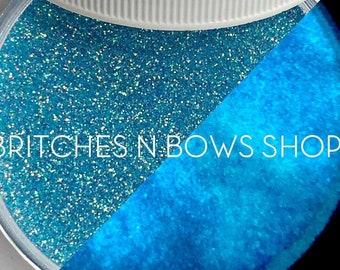 Phenomenal Cosmic Powers [Blue Glow] || Exclusive Premium Polyester Glitter, 1oz jar • TRANSPARENT • || .006 cut