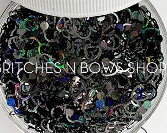 Black Holo Stethoscopes || Stethoscope Glitter Shape, 1oz Jar • OPAQUE •