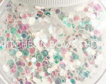 Bubble Bath || Confetti Dot Glitter, 1oz Jar (Iridescent) • TRANSPARENT •