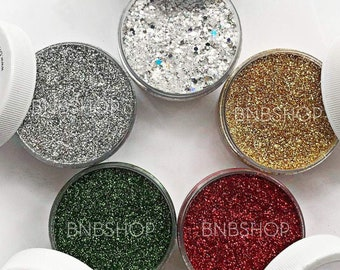 Snow Globe Bundle || Premium Polyester Glitter, 5 Colors Total || 4 .008 cut, 1 chunky mix