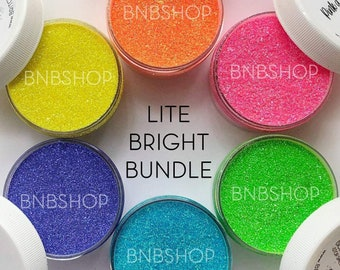 Lite Bright Package Bundle || Premium Polyester Glitter, 1oz by Weight • TRANSPARENT • || 6oz total