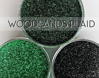 Woodlands Plaid, Set of 3 Glitters OR Mix Only Option || Exclusive Premium Polyester Glitter, 1oz each glitter & 2oz jar of mix