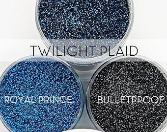 Twilight Plaid Set, 3 Glitters OR Mix Only Option || Exclusive Premium Polyester Glitter, 1oz each glitter & 2oz jar of mix || .008 cut