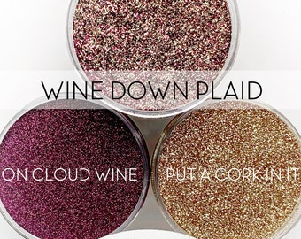 Wine Down Plaid Set, 3 Glitters OR Mix Only Option || Exclusive Premium Polyester Glitter, 1oz each glitter & 2oz jar of mix || .008 cut