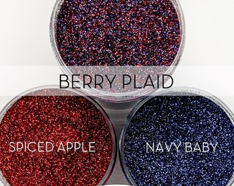 Berry Plaid Set, 3 Glitters OR Mix Only Option || Exclusive Premium Polyester Glitter, 1oz each glitter & 2oz jar of mix || .008 cut