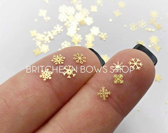 Gold Snowflakes    Metal Snowflakes, 8 Different Designs; approx. 85+ per jar