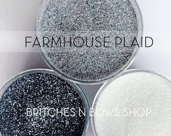 Farmhouse Plaid, Set of 3 Glitters OR Mix Only Option || Exclusive Premium Polyester Glitter, 1oz each glitter & 2oz jar of mix