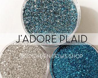 J'adore Plaid Set, 3 Glitters OR Mix Only Option || Exclusive Premium Polyester Glitter, 1oz each glitter & 2oz jar of mix || .008 cut