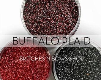 Buffalo Plaid Set, 3 Glitters OR Mix Only Option || Exclusive Premium Polyester Glitter, 1oz each glitter & 2oz jar of mix || .008 cut