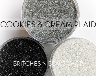Cookies & Cream Plaid Set, 3 Glitters OR Mix Only || Exclusive Premium Polyester Glitter, 1oz each glitter +  2oz jar of mix || .008 cut