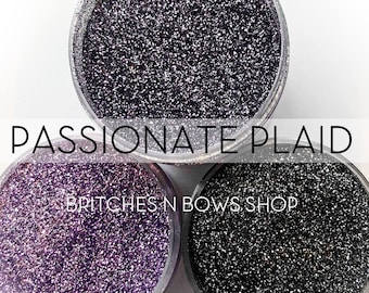 Passionate Plaid Set, 3 Glitters OR Mix Only Option || Exclusive Premium Polyester Glitter, 1oz each glitter & 2oz jar of mix