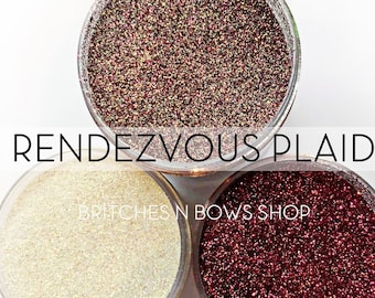 Rendezvous Plaid, Set of 3 Glitters OR Mix Only Option || Exclusive Premium Polyester Glitter, 1oz each glitter + 2oz jar of mix || .008 cut