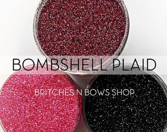 Bombshell Plaid Set, Set of 3 Glitters OR Mix Only || Exclusive Premium Polyester Glitter, 1oz each glitter &  2oz jar of mix || .008 cut