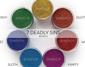 7 Deadly Sins Bundle || Polyester Glitter, 1oz by Weight • OPAQUE • || 7 glitters