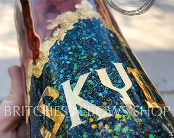 HP Inspired Tumbler Design || Geode Style with Foil Flakes