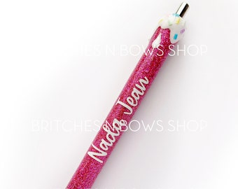 Ice Cream Drip Glitter Pen with Personalization and Fake Sprinkles || Add Name or Order Plain
