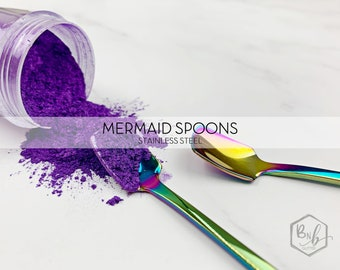 Three Stainless Mermaid Scoops for Tumbler Glitter Designing or Mica Scooping