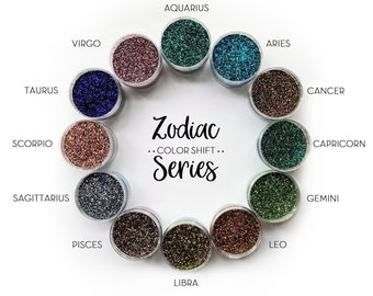 Zodiac Color Shift Series Bundle || Polyester Glitter, 1oz by Weight • OPAQUE • || .015 cut Color Shift, 12 glitters total