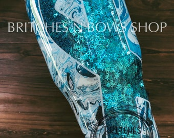 Original Awareness Ribbon Tumbler Marble Dip with Ribbon Glitter Shapes || Color Options Available