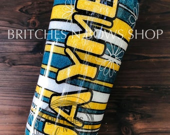 Serape Striped Tumbler Design with Flowers, Up to 4 colors