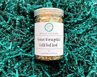 Green Variegated Gold Foil Flakes || 5g Jar