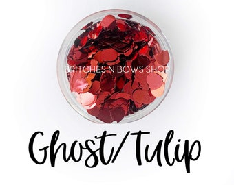 Red Ghost or Tulip || Glitter Shape Mixer, Sample Jar • OPAQUE •