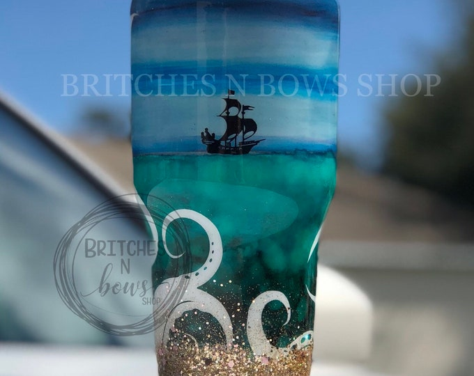 Featured listing image: Original Kraken Sea with Boat and Mini Gold Chunky Ombre Bottom