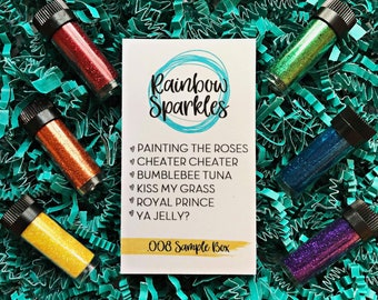 Rainbow Sparkles .008 Sample Box || 6 Glitter Samples in 1/4oz Vials || .008 cut