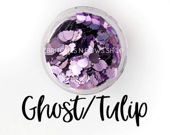Purple Ghost Or Tulip || Glitter Shape Mixer 0.5oz Jar •OPAQUE•