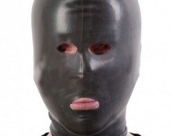 209 BLACK Made in UK Latex Hood//Mask PERFORATIONS for Eyes and Mouth