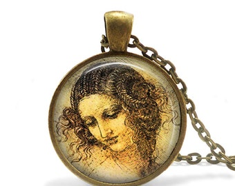 Leonardo Da Vinci Woman Painting Necklace Leonardo Da Vinci Head of a Woman Painting Jewelry Girl drawing necklace Drawing Jewelry Necklace