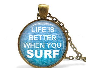 Glass and Metal Surfing necklace Gift for surfer girl necklace gift for surfer guy surfboard necklace Ocean surfing Water surfing necklace