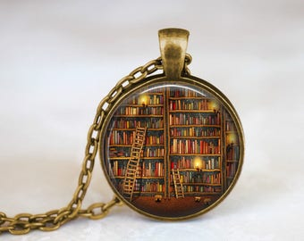 The Library Necklace Librarian Jewelry - Book Shelf Necklace Writer Jewelry - Gift For Writer Book Necklace - Library Gift For Librarian