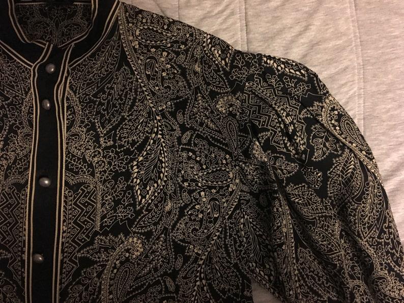 Laur\u00e8l Silk Blouse Black White Paisley Pleated Shoulders Lantern Sleeves Vintage West Germany Size 38