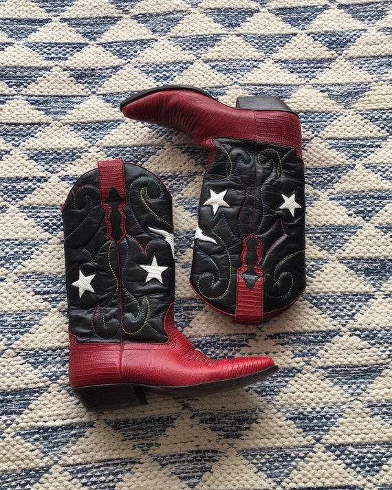 Nine West Vintage Leather Cowboy Boots Red Star 8M