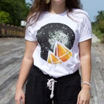 Organic Cotton Adult Unisex/Women's T-Shirt, Citrine Crystal Galaxy, Eco-Friendly Apparel