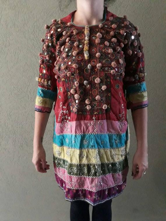e37a43e228 Vintage Banjara Pom Pom DressAfghani Pakistan kuchi Nomad   Etsy