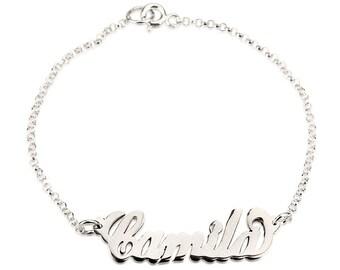 ef69a1b4d Personalized Name Bracelet , Any Name On a Bracelet , Custom Sterling  Silver Bracelet , Carrie Style