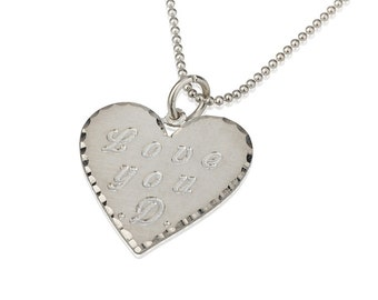 Personalized Engraved Heart Necklace , Couples Sterling Silver Engraved Necklace , Heart Charm Pendant Necklace